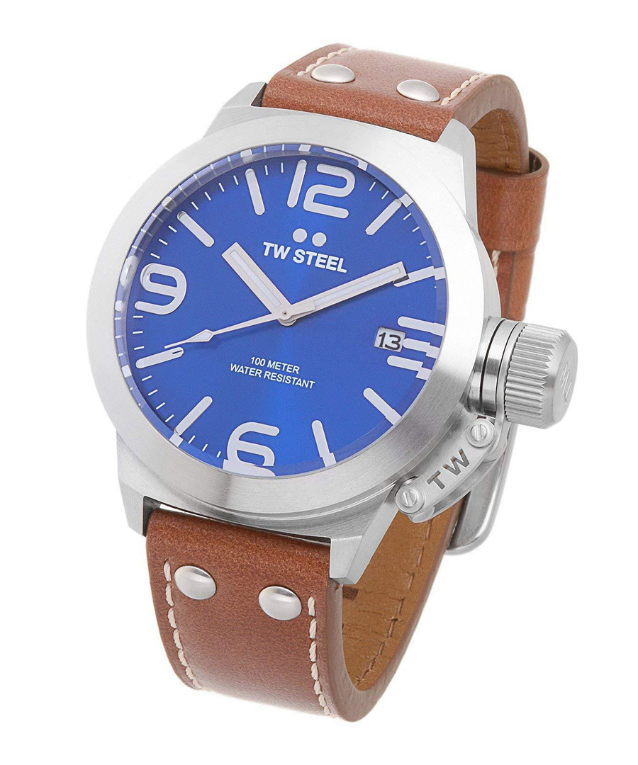 Blue, brown & silver leather watch Sale - tw steel