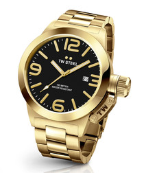 Black & gold-tone number face watch