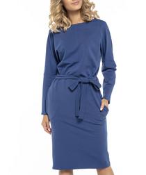 Blue cotton blend long sleeve midi dress
