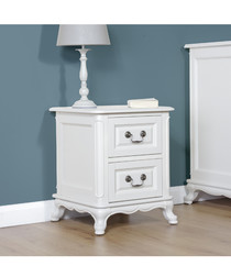 White birch 2 drawers bedside table
