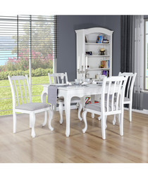 4pc white birch dining set with table
