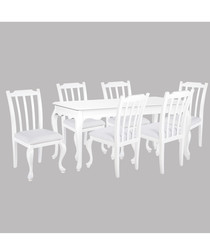 6pc white birch dining set with table