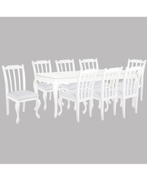 8pc white birch dining set with table