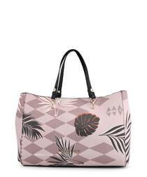 Pink diamond floral handbag
