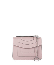 Taupe leather fold over crossbody bag