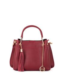 Red leather tassel grab bag