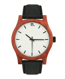 White, black & brown leather watch