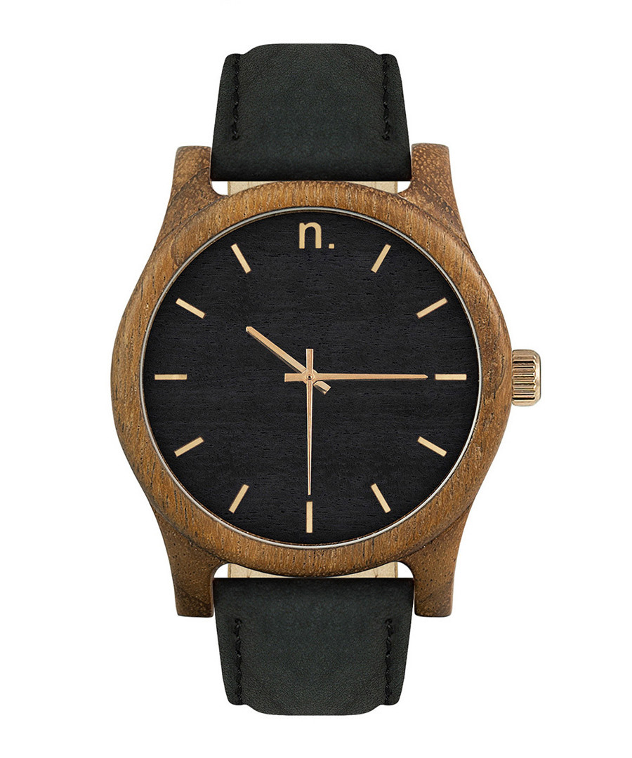 Black, brown & gold-tone leather watch Sale - NEAT