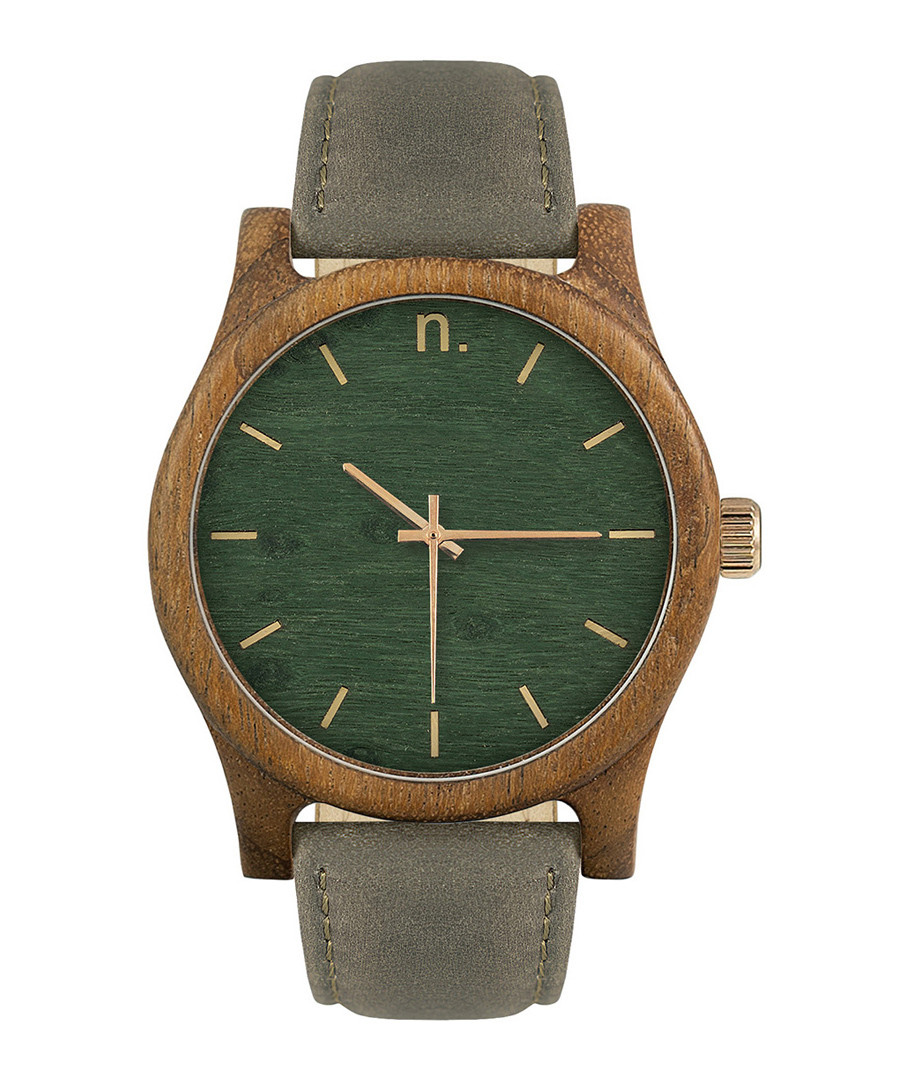 Green & grey leather watch Sale - NEAT