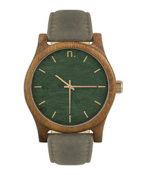 Green & grey leather watch