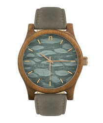 Grey & brown leather pattern watch
