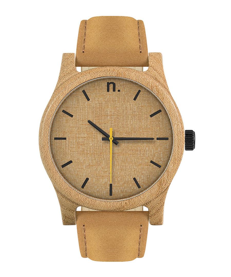 Beige & brown leather watch Sale - NEAT