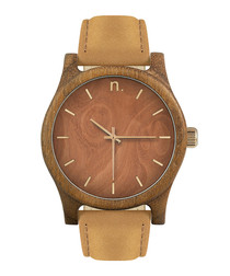 Beige & brown leather watch