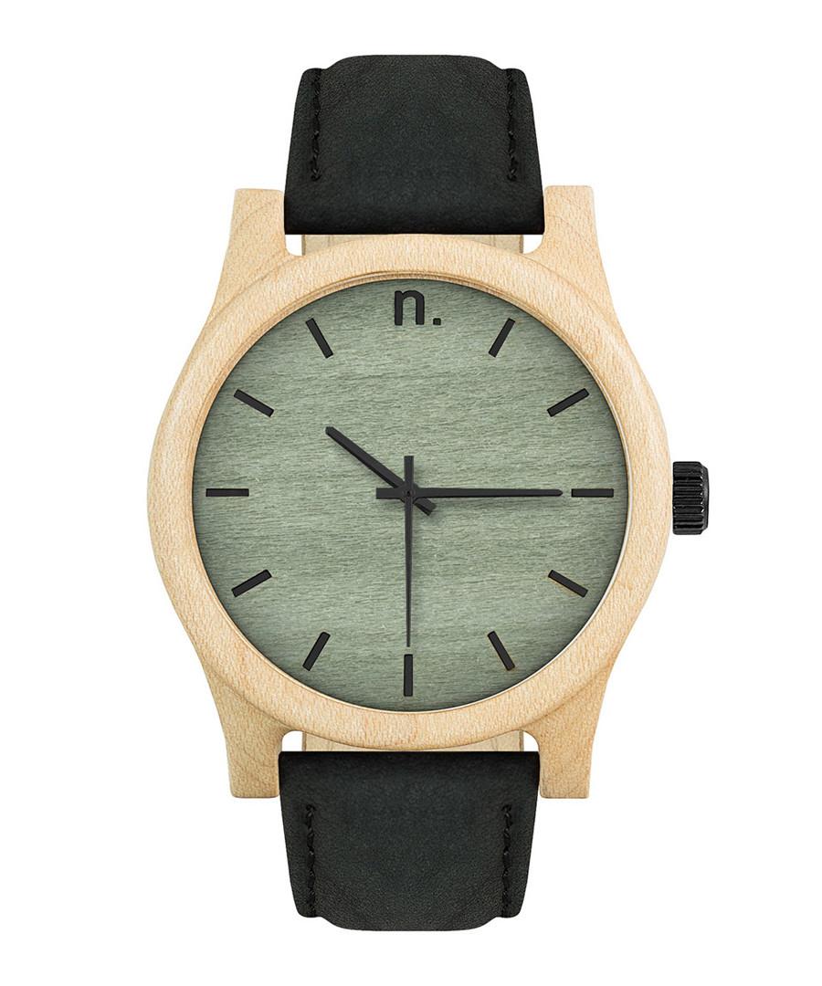 Green & black leather watch Sale - NEAT