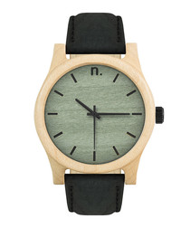 Green & black leather watch