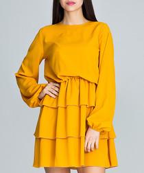 Yellow long sleeve ruffle dress