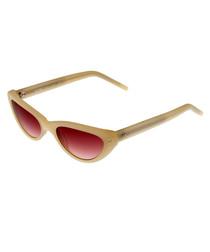 Beige & rose angled slim sunglasses