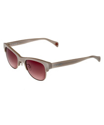 Taupe & red rimless sunglasses