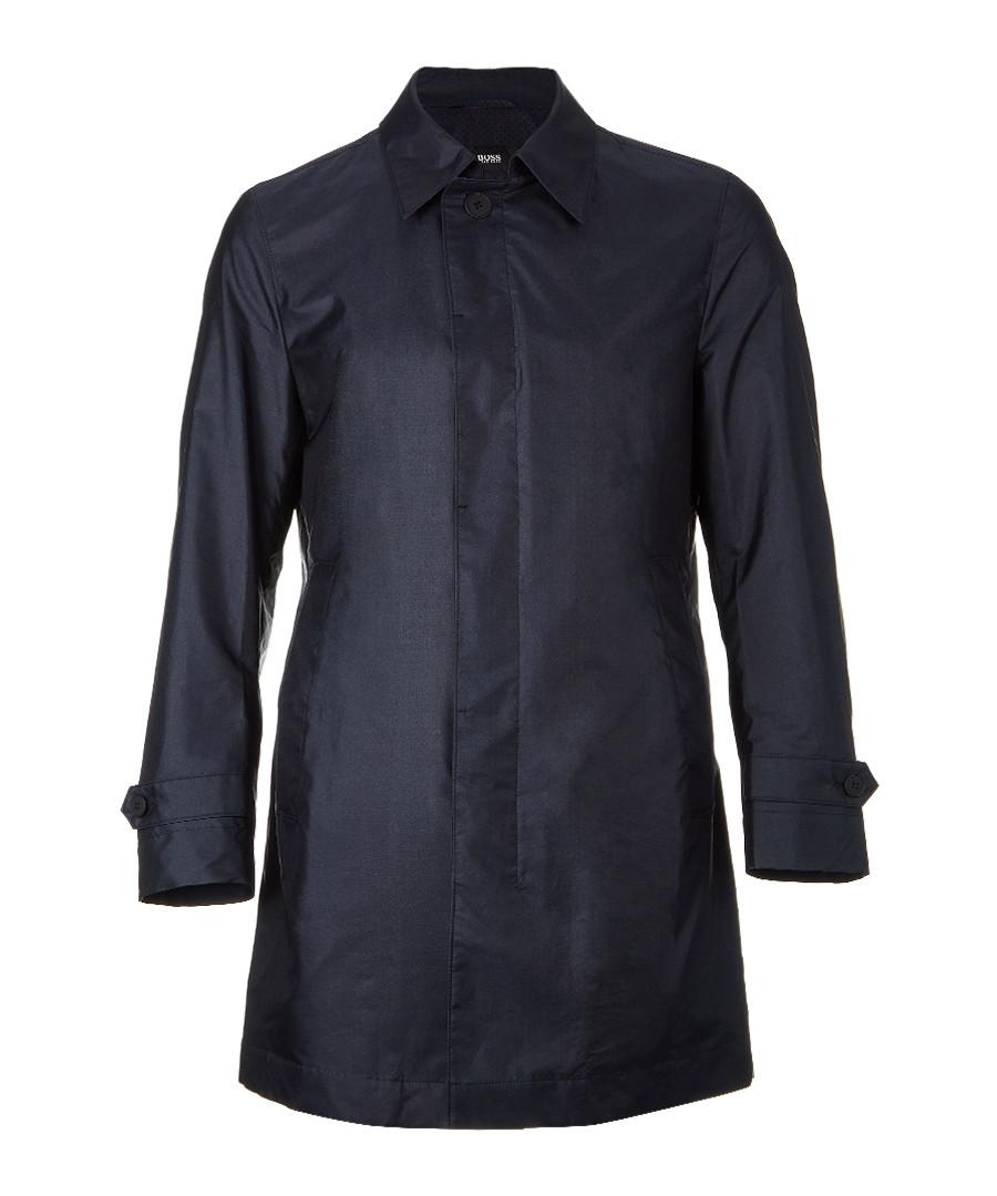 Garret navy silk blend coat Sale - HUGO BOSS