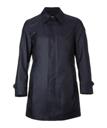 Garret navy silk blend coat
