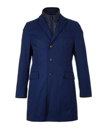 Lenni navy cotton button-up coat