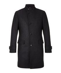 Sintrax charcoal wool high neck coat