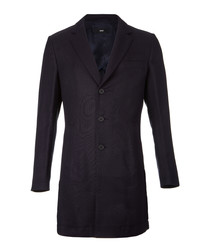 Steven dark blue wool blend coat