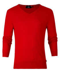 Lieto red cotton V-neck jumper