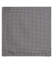 Black pure silk check pocket square