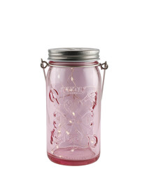 Silver-tone & pink LED jar light