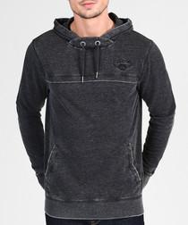 Black cotton blend hoodie
