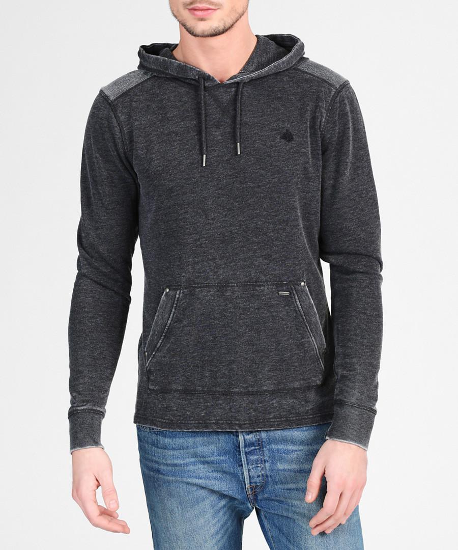 Black cotton blend hoodie Sale - DreiMaster