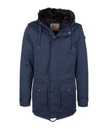 Marine cotton blend hooded coat
