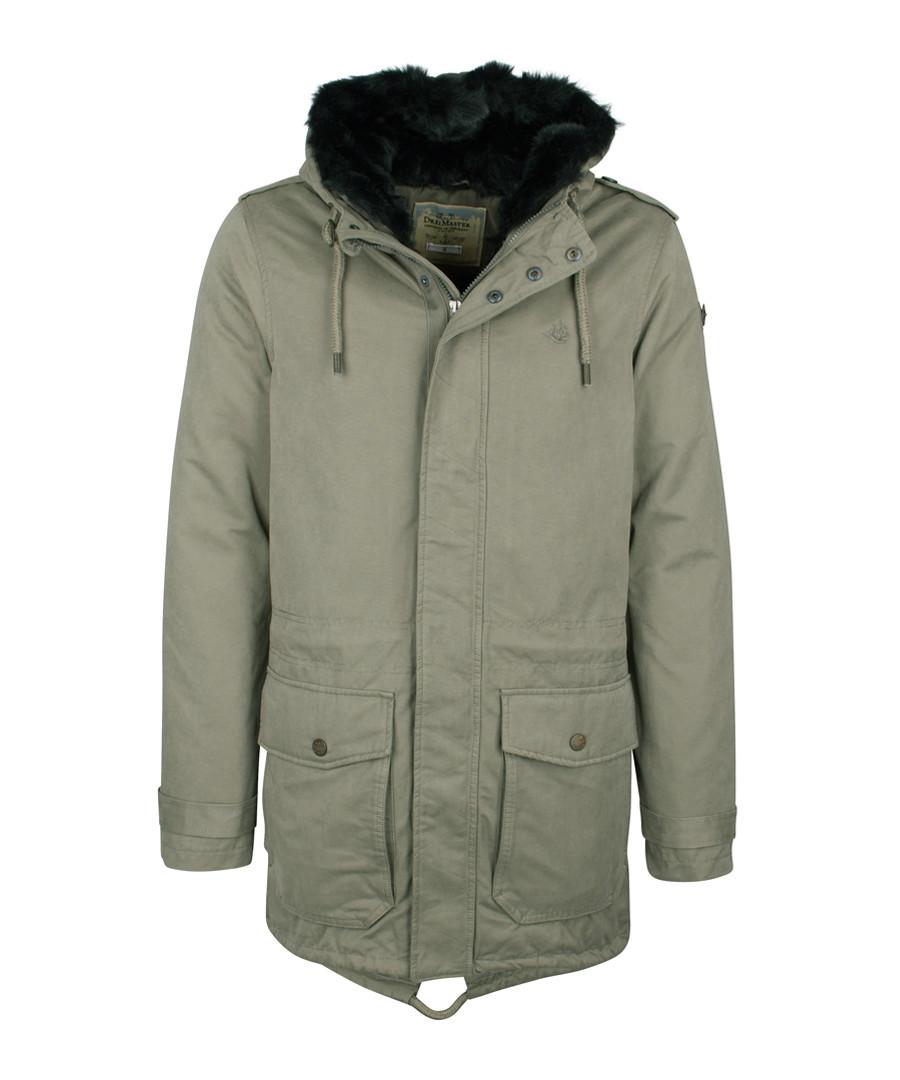 Olive cotton blend hooded coat Sale - DreiMaster