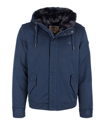 Marine cotton blend hooded jacket