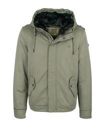 Olive cotton blend hooded jacket