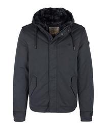 Black cotton blend hooded jacket