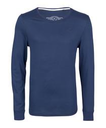 Marine pure cotton long sleeve top