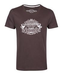 Brown pure cotton logo T-shirt