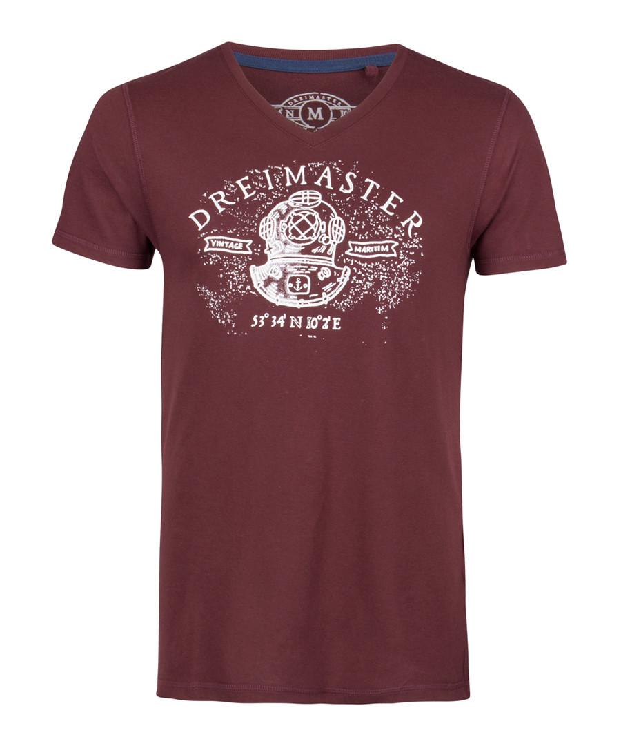 Bordeaux pure cotton logo T-shirt Sale - DreiMaster