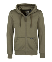Olive cotton blend zip-up hoodie
