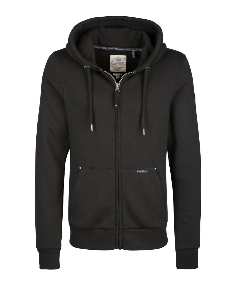 Black cotton blend zip-up hoodie Sale - DreiMaster