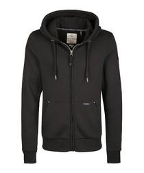 Black cotton blend zip-up hoodie