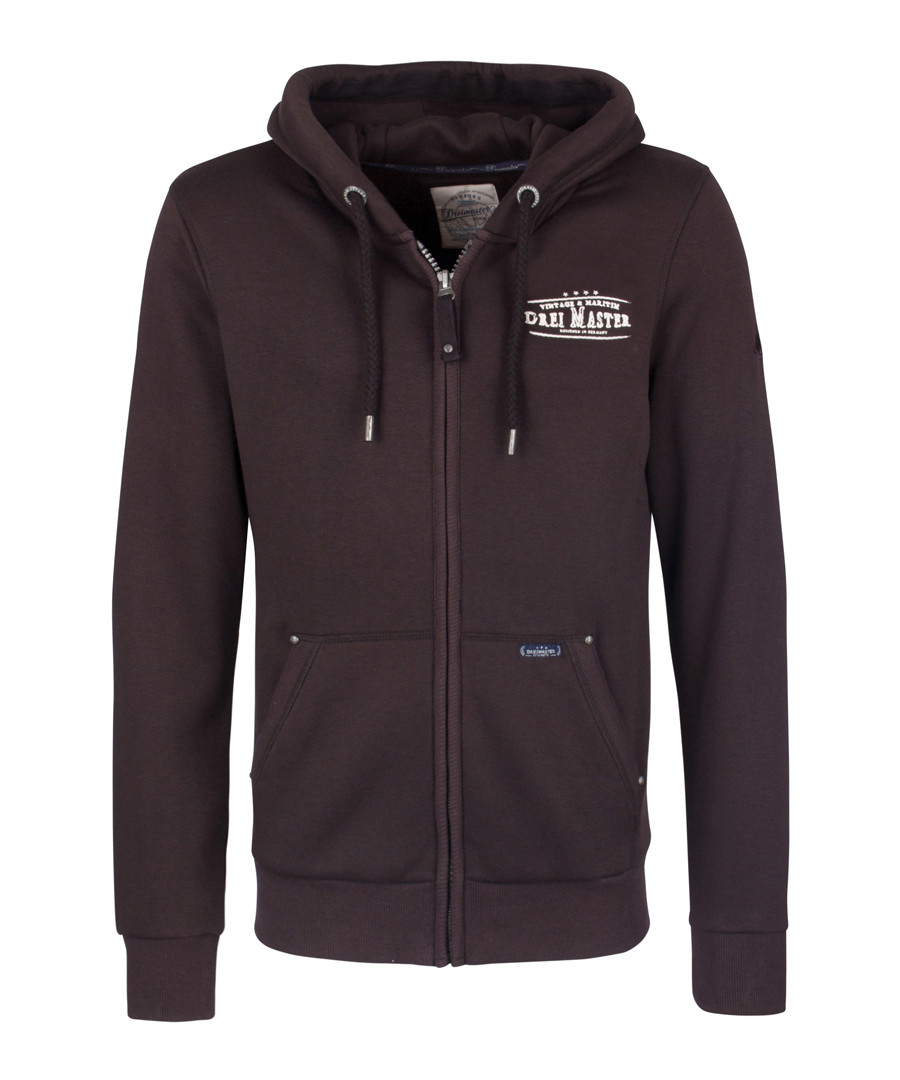 Brown cotton blend zip-up hoodie Sale - dreimaster