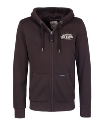Brown cotton blend zip-up hoodie