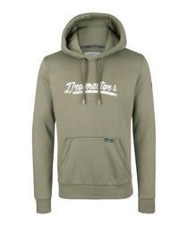 Olive cotton blend logo hoodie