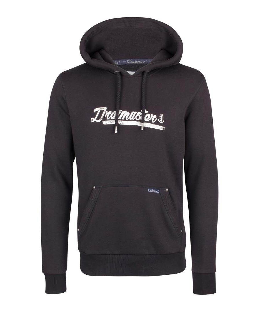 Black cotton blend logo hoodie Sale - DreiMaster
