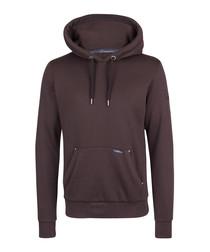 Brown cotton blend hoodie