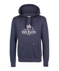 Marine cotton blend logo hoodie