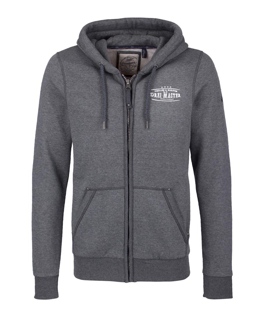 Dark grey cotton blend zip-up hoodie Sale - DreiMaster